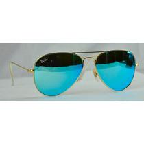 Lentes Ray-ban Aviator 3025 Tornasol Aqua 100% Originales