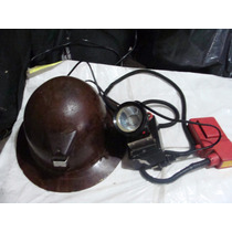 Antiguo Casco Minero De Baquelita Y Lampara , El Casco No T