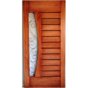 Porta De Madeira Maciça E Ferro Design Moderno
