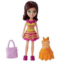 Polly Pocket Boneca Lea + 2 Vestidos + Sandalia + Bolsa