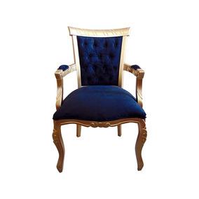 Cadeira De Jantar Luis Xv Com Braço Dourada - Wood Prime