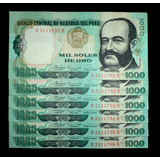 5 Billetes 1000 Soles De Oro 1981 En Serie Unc