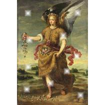 Lienzo Tela Arcángel Baraquiel Y Flores Arte Sacro 130 X 80