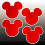 50 Aplique Recorte Mickey Minnie Cabeça Eva Glitter 5 Cm