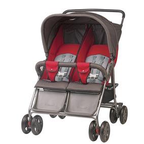 Carrinho De Bebê Para Gêmeos Hercules - Grafite E Vermelho