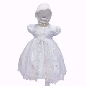 Vestido Batizado Longo Daminha Realeza Com Touca - Luxo