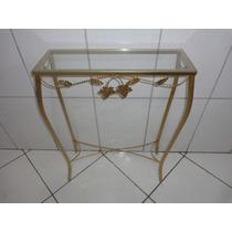 Aparador De Ferro Com Vidro 60 Cm - Cor: Ouro
