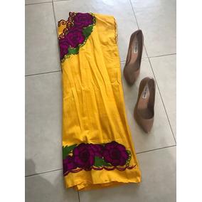 Vestido Manta Tipico Bordado Rosas Tradicional Tunica