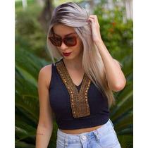 Blusa Feminina Cropped Pedraria Modelo 2017