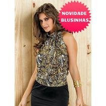 Blusa Regata Camisa Feminina Com Cava Americana Gola Alta