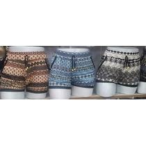 Kit Com 7 Shorts Curto Em Malha Estampado