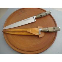 Cuchillo 3 Claveles Encabado Madera 20 Cm Sin Vaina