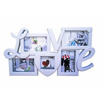 Painel Mural Quadro De Fotos Porta Retratos Love 5 Fotos
