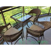 Conjunto 3 Cadeiras E 1 Mesa Fibra Vime Sintético Varandas