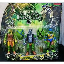 Kit 2 Bonecos Tartarugas Ninjas + 1 Vilão Nickelodeon
