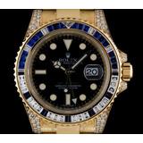Reloj Rolex 18k Y/g Diamond & Sapphire Gmt-master Ii Nos B&p