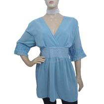 Blusa Bata De Musseline Azul Bordada - Usada - Ótimo Estado