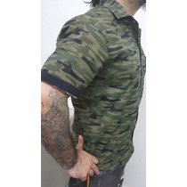 Camisa Camuflada Manga Corta Verde Militar Envio Gratis !