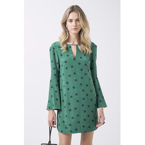 Vestido Animale Seda Manga Ampla Estampa Pois Verde
