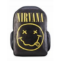Mochila Nirvana Couro Sintético Pu Notebook Escolar Rock