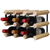 Adega De Madeira E Aço 9 Garrafas Vinho Suporte Vinhoteca