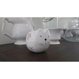 Maceta Gato O Conejo Ceramica Pintada A Mano