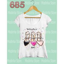 Camiseta Tshirt Feminina Valentino Girl Desenho Estampa Moda