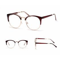 Óculos Armação Metal - Metal Gatinho Vintage Luxo Retrô
