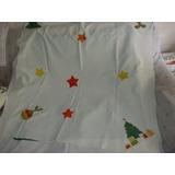 Navidad, Excelente Mantel Blanco Pintado A Mano Tematico
