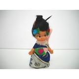 Antigua Muñeca Miniatura Japonesa Geisha Kimono Retro Los 70