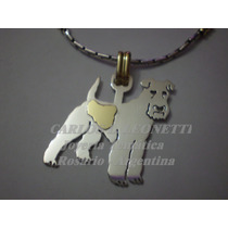 Fox Terrier - Dije Plata 925 - Oro 18k