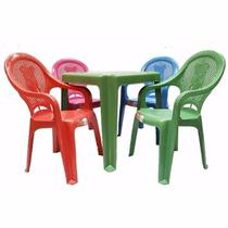 Kit Mesinha +4 Cadeiras Plástica Poltrona Infantil Criança