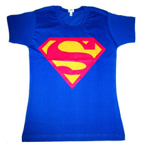 Camisa Blusa Super Man Baby Look Feminina Super Girl Heróis