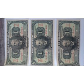 3 Cédulas Um Mil Reis 1923 Assinadas E Legítimas. Impecáveis