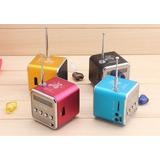Mini Caixa De Som Portátil Tf Micro Sd Rádio Fm Mp3 Tela Lcd