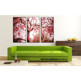 Cuadros Modernos Tripticos Florales 90x60 Cm - Lienzo Canvas