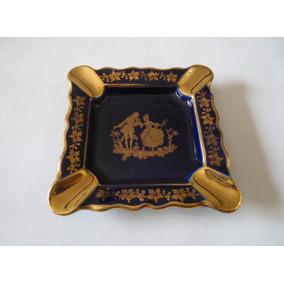 Cenicero De Porcelana Limoges Azul Cobalto Con Escena