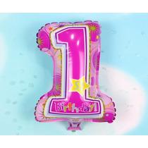 Globo Metalizado Numero 1 Primer Cumpleaños Niña Princesa