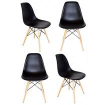 Kit 4 Cadeiras Jantar Charles Eames Wood Preta Pés Madeira