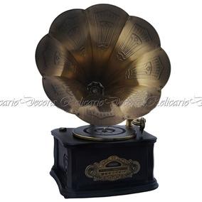 Gramofone Com Caixa De Madeira 220v Estilo Classico