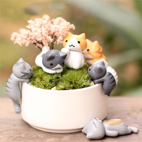 6 Peças Mini Gatos Miniatura Terrários Jardim Gatinhos Fada