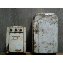 Antiguos Juguetes De Chapa Heladera Y Cocina Daisa, Reciclar
