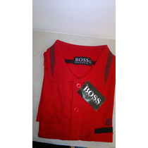 Camisa Playera Tipo Polo Hugo Boss Color Rojo Negro Casual