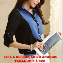 Blusa Camisa Chiffon Plus Size P/ Magrinhas E Gordinhas