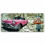 Placa Decorativa Carro Rosa Em Metal Route 66 - 46x20 Cm