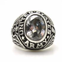 Anel Prata 950 Pedra Cristal United State Army Força Armada