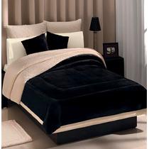 Cobertor Negro Con Borrega Matrimonial Envio Gratis