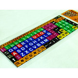 Stickers Teclado Pc Letras Grandes Color