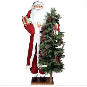 Boneco Grande Papai Noel Casaco C/arvore Altura 152cm