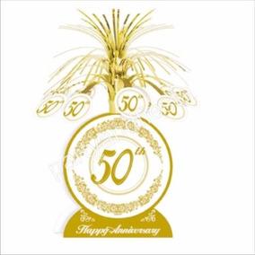 Centro De Mesa 50 Aniversario Oro Fiesta
